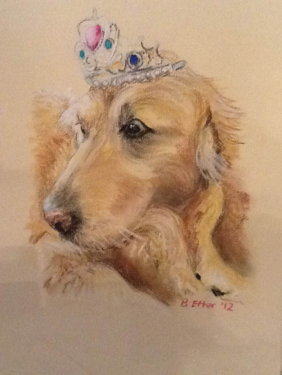 Dog and tiara pastel