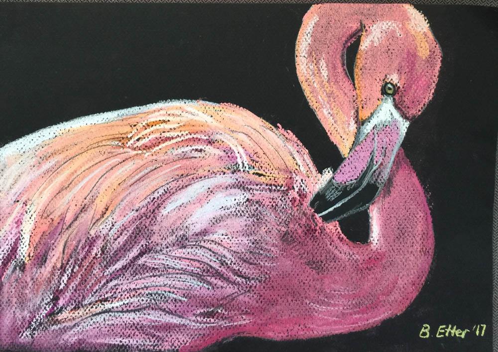 flamingo in pastel