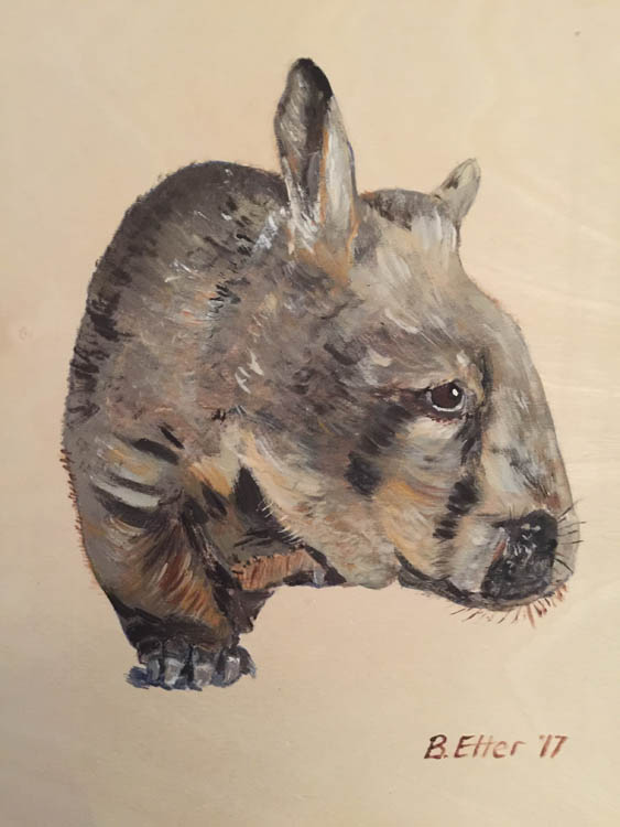 wombat on timber painting